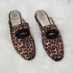 Adrianna Papell Becky beaded leopard mules